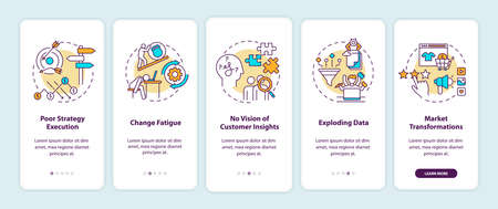 Business challenges onboarding mobile app page screen with concepts. Change fatigue, poor strategy execution walkthrough 5 steps graphic instructions. UI vector template with RGB color illustrations