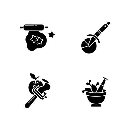 Kitchen utensils black glyph icons set on white space. Cookie cutter. Pizza wheel knife. Vegetable peeler. Mortar and pestle. Household tools. Silhouette symbols. Vector isolated illustration