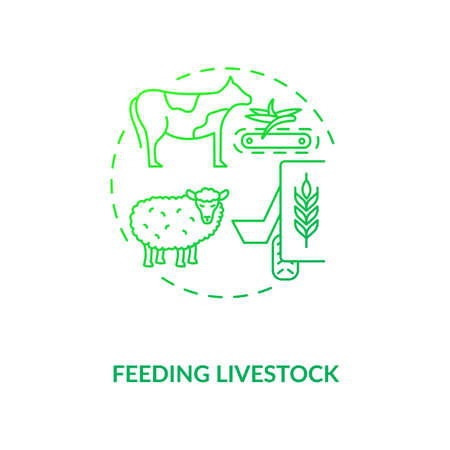 Feeding livestock concept icon. Agriculture machines types. Future different systems of feeding and growing ranch cattle idea thin line illustration. Vector isolated outline RGB color drawing