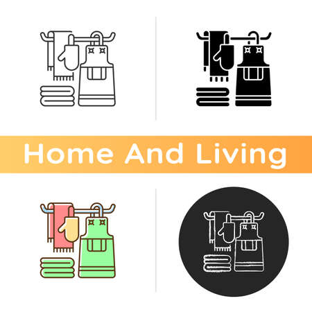 Kitchen linen icon. Apron. Dish cloths. Kitchen towels and napkins. Housekeeping. Pot holders and oven gloves. Drying washed plates. Linear black and RGB color styles. Isolated vector illustrations