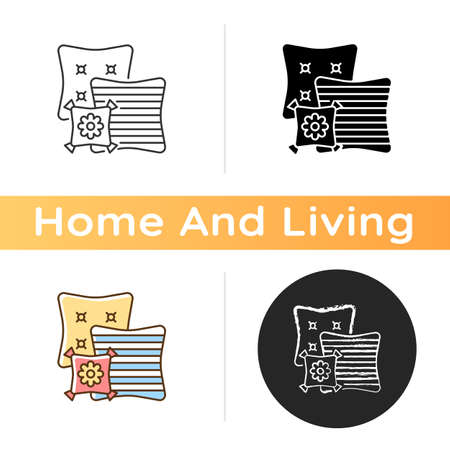 Decorative pillows icon. Extras to the living room sofa. Aesthetic and functional purpose. Home decor and interior design. Linear black and RGB color styles. Isolated vector illustrations