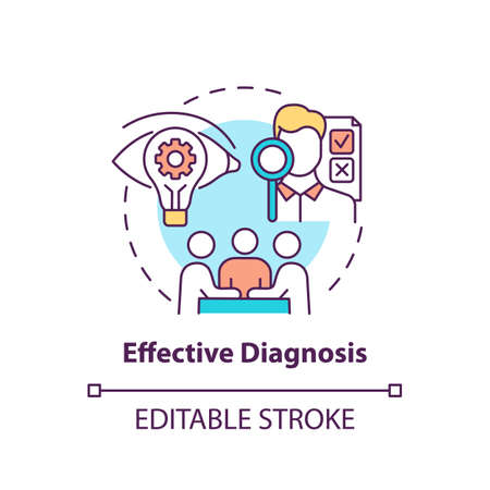 Effective diagnosis concept icon. Business consulting stage idea thin line illustration. Diagnostic phase. Identifying problems. Vector isolated outline RGB color drawing. Editable stroke