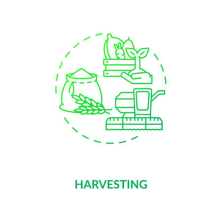 Harvesting concept icon. Agriculture machines types. Fast gathering fully grown plants on wide farming fields idea thin line illustration. Vector isolated outline RGB color drawing
