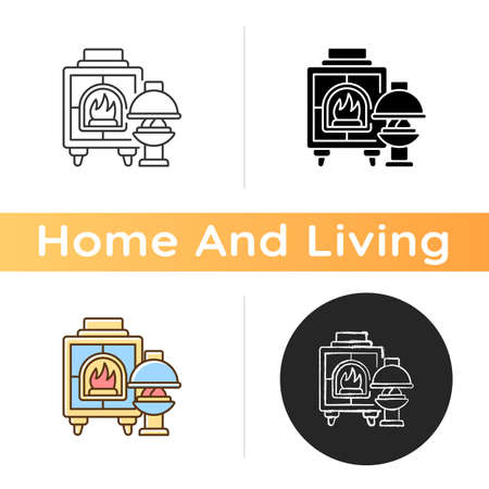 Fireplaces icon. Wood burning stoves. Heating home. Warm and cozy style. House furnishings. Fireboxes. Interior design. Linear black and RGB color styles. Isolated vector illustrations