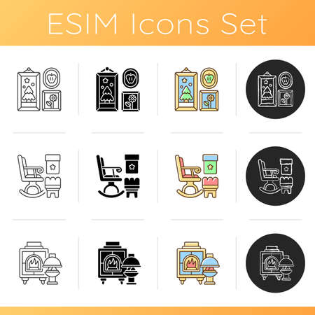 Style ideas for home icons set. Photo frames. Rocking chairs and ottomans. Fireplaces. Wall decor. Wood burning stoves. Linear, black and RGB color styles. Isolated vector illustrations Ilustração