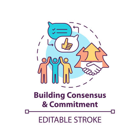 Building consensus and commitment concept icon. Business consulting stage idea thin line illustration. Creating culture and behaviors. Vector isolated outline RGB color drawing. Editable stroke Ilustração Vetorial