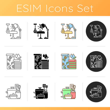 Home and living design icons set. Lighting. Wallpapers. Kitchen tools. Artificial light sources. Cooking supplies. Florals designs. Linear, black and RGB color styles. Isolated vector illustrations