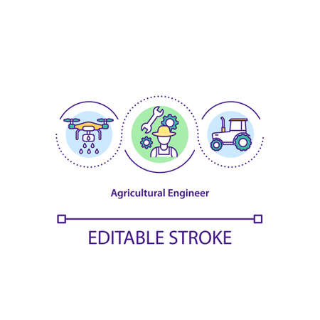 Agricultural engineer concept icon. Designing machines and equipment. Construction and improvement machinery idea thin line illustration. Vector isolated outline RGB color drawing. Editable stroke.