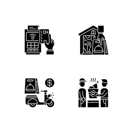 Meal delivery orders black glyph icons set on white space. Cashless payment. Contactless option. Delivery fee. Food pickup. Courier service. Silhouette symbols. Vector isolated illustration