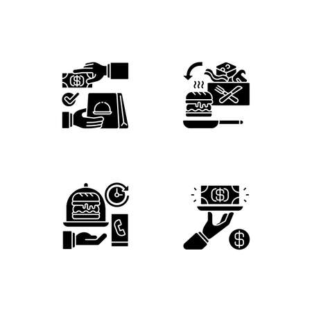 Online food ordering black glyph icons set on white space. Cash on delivery. Cooking-for-yourself thing. Delivery time. Gratuity charge. Silhouette symbols. Vector isolated illustration
