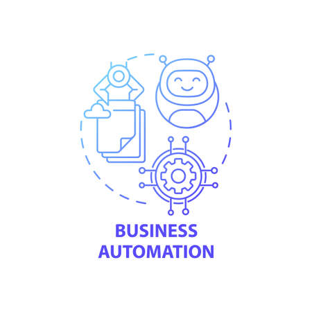 Business automation concept icon. Digital consulting idea thin line illustration. Business process management. Minimizing costs, increasing efficiency. Vector isolated outline RGB color drawing