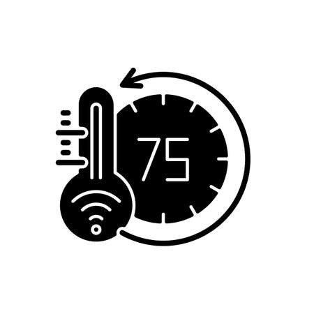 Thermostat black glyph icon. Smart home monitoring future devices. Measuring temperature inside your house. Getting heat and cold status. Silhouette symbol on white space. Vector isolated illustration Stock Illustratie