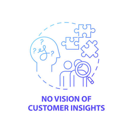 No customer insights vision concept icon. Business challenges idea thin line illustration. Innovation lack. Overall business agility lack across people. Vector isolated outline RGB color drawing
