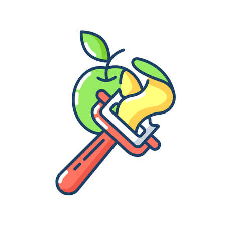 Vegetable peeler RGB color icon. Stainless instrument for serving food. Cooking utensil. Peel apple skin. Healthy recipe ingredient. Kitchen tool. Sharp knife. Isolated vector illustration