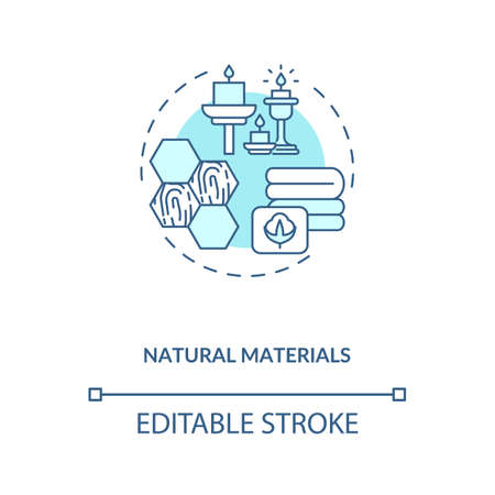 Natural materials blue concept icon. Eco friendly. Conscious consumption. Sustainable production. Biophilia idea thin line illustration. Vector isolated outline RGB color drawing. Editable stroke