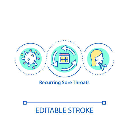 Recurring sore throats concept icon. Always getting problems with your health. Disease treatment plan idea thin line illustration. Vector isolated outline RGB color drawing. Editable stroke