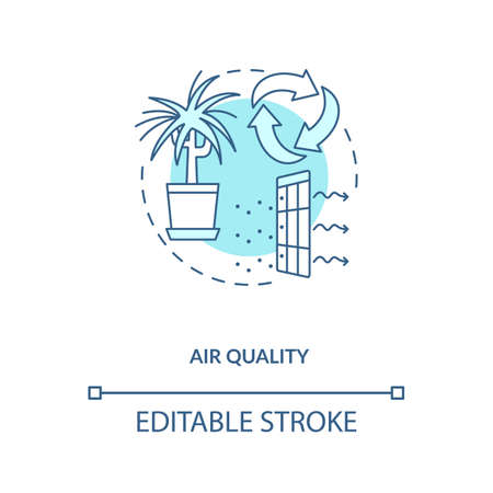 Air quality blue concept icon. Indoor ventilation. Clean house. Environmental care. Air circulation. Biophilia idea thin line illustration. Vector isolated outline RGB color drawing. Editable stroke