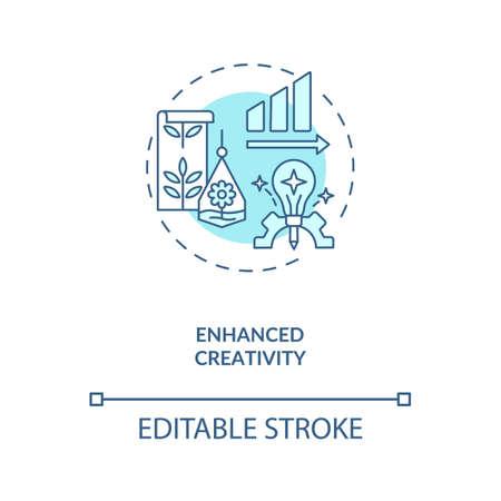 Enhanced creativity blue concept icon. Workspace for productive work. Motivation for job performance, Biophilia idea thin line illustration. Vector isolated outline RGB color drawing. Editable stroke Illusztráció