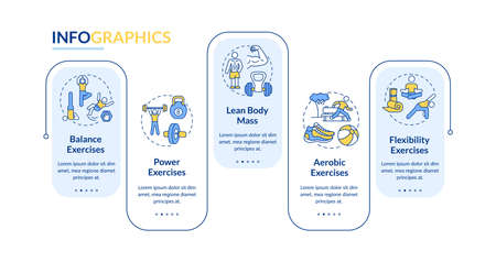 Muscle training vector infographic template. Fitness exercise. Physical health presentation design elements. Data visualization with 5 steps. Process timeline chart. Workflow layout with linear icons