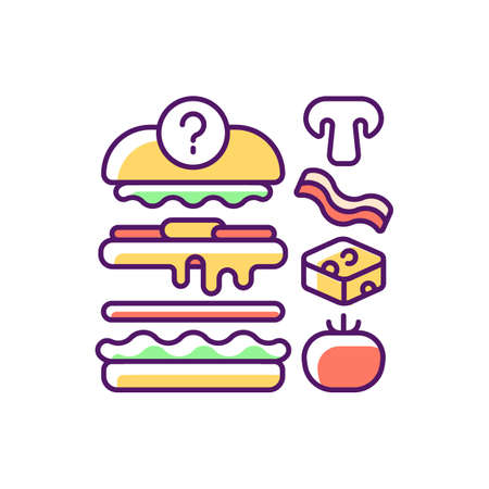 Food constructor RGB color icon. Setting meal preferences. Putting ingredients together. Collecting perfect dish. Online ordering for takeout. Ready meals delivery. Isolated vector illustration