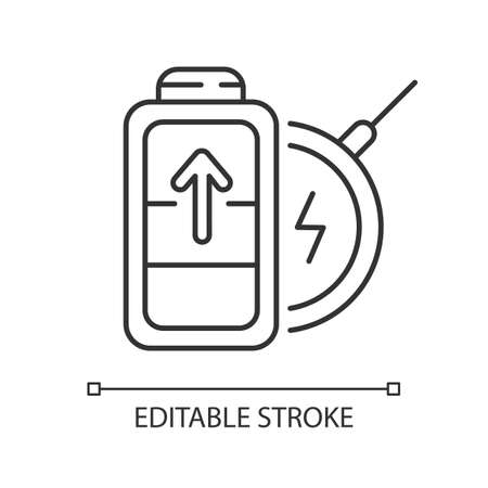 Battery wireless charging linear icon. No long cables. Innovational device usage. Thin line customizable illustration. Contour symbol. Vector isolated outline drawing. Editable stroke 向量圖像