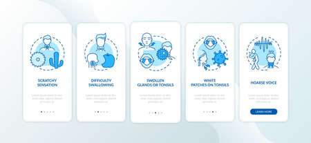 Pharyngitis symptoms onboarding mobile app page screen with concepts. Scratchy throat, hoarse voice walkthrough 5 steps graphic instructions. UI vector template with RGB color illustrations Ilustração