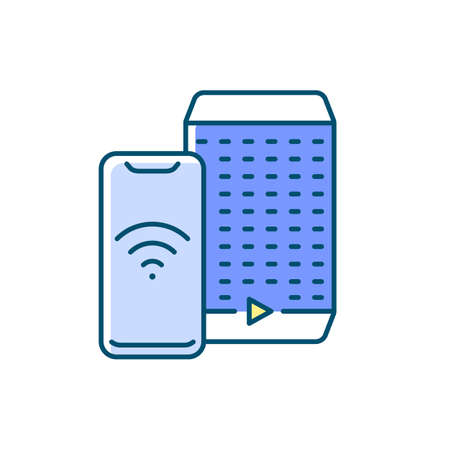 Smart speaker RGB color icon. Smart house devices for loud party. Personal digital assistant hub. Remote controlling app. Isolated vector illustration 向量圖像