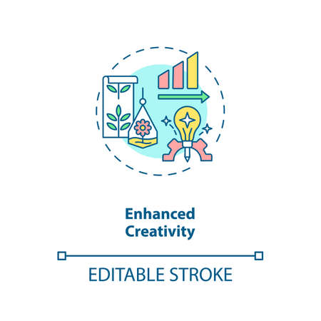 Enhanced creativity concept icon. Workspace for productive work. Motivation for job performance, Biophilia idea thin line illustration. Vector isolated outline RGB color drawing. Editable stroke