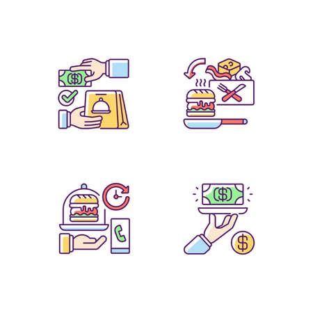 Online food ordering RGB color icons set. Cash on delivery. Cooking-for-yourself thing. Delivery time. Gratuity charge. Advance payment. Pre-portioned ingredients. Isolated vector illustrations