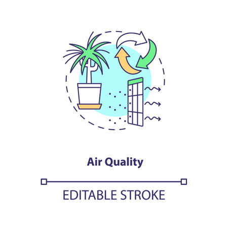 Air quality concept icon. Indoor ventilation. Clean house. Environmental care. Air circulation. Biophilia idea thin line illustration. Vector isolated outline RGB color drawing. Editable stroke