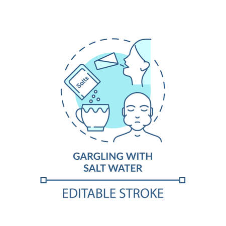 Gargling with salt water concept icon. Sore throat treatment idea thin line illustration. Natural remedy. Preventing mild health issues. Vector isolated outline RGB color drawing. Editable stroke