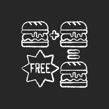 Special offers chalk white icon on black background. Food delivery discounts, coupons and deals. Free and reduced-price offers. Exclusive promo code. Isolated vector chalkboard illustration 矢量图像