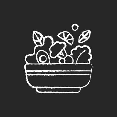 Salads chalk white icon on black background. Lunch and dinner delivery. Leafy greens and salad dressing. Fresh vegetables. Healthy food for vegans. Isolated vector chalkboard illustration