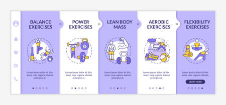 Muscle training onboarding vector template. Fitness exercise. Lean body mass. Physical health. Responsive mobile website with icons. Webpage walkthrough step screens. RGB color concept