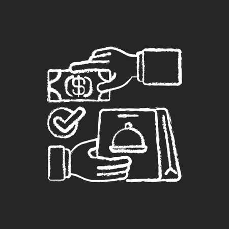 Cash on delivery chalk white icon on black background. Advance payment. Meals, drinks delivery from local restaurants. Courier service. Ready-made dishes. Isolated vector chalkboard illustration 矢量图像