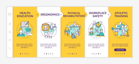 Physical health onboarding vector template. Trauma recovery. Bodycare, ergonomics. Athlete training. Responsive mobile website with icons. Webpage walkthrough step screens. RGB color concept 向量圖像