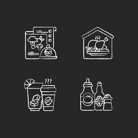 Online restaurant delivery chalk white icons set on black background. Vegan menu. Home-cooked meals. Drinks and beverages. Condiments and sauces. Isolated vector chalkboard illustrations