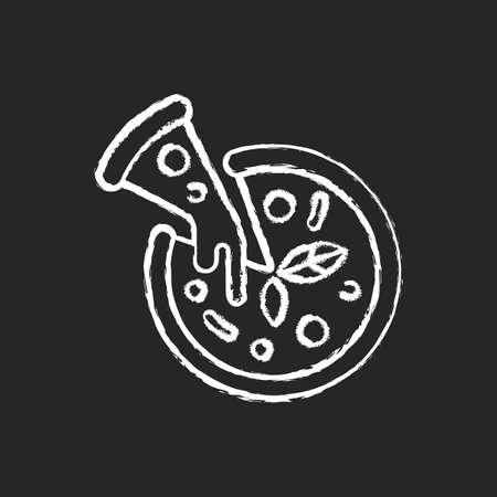 Pizza chalk white icon on black background. Prepared food. Italian origin dish. Junk foods. Dough, tomato sauce and mozzarella toppings. Tasty cheese pie. Isolated vector chalkboard illustration