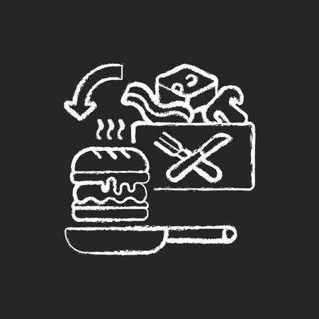 Meal kit delivery chalk white icon on black background. Restaurant-quality meals at home. Cooking-for-yourself thing. Pre-portioned ingredients. Isolated vector chalkboard illustration