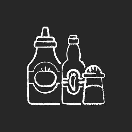 Condiments and sauces chalk white icon on black background. Tabasco sauce. Chilli peppers. Mexican recipes. Ketchup, salt, spice, mustard. Jalapeno chillies. Isolated vector chalkboard illustration