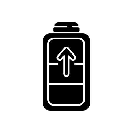 Battery charging process black glyph icon. Different devices working time. Electricity incoming process. Getting full system lifecycle. Silhouette symbol on white space. Vector isolated illustration Illusztráció