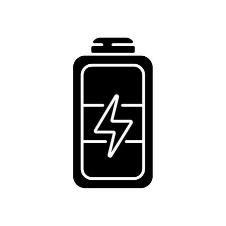 Full battery black glyph icon. Getting max capacity for full day. Maximum power for device. One hundred percetage level. Silhouette symbol on white space. Vector isolated illustration