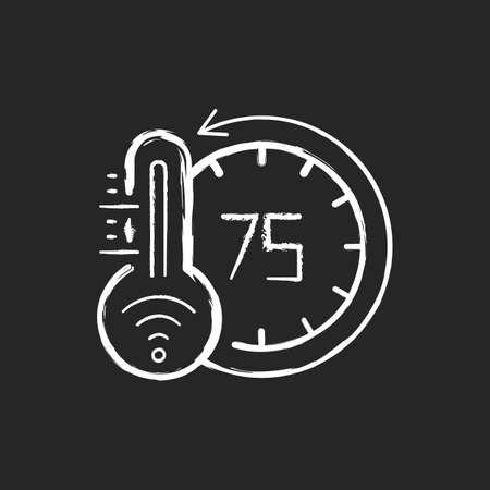 Thermostat chalk white icon on black background. Smart home monitoring future devices. Measuring temperature inside your house. Getting heat and cold status. Isolated vector chalkboard illustration