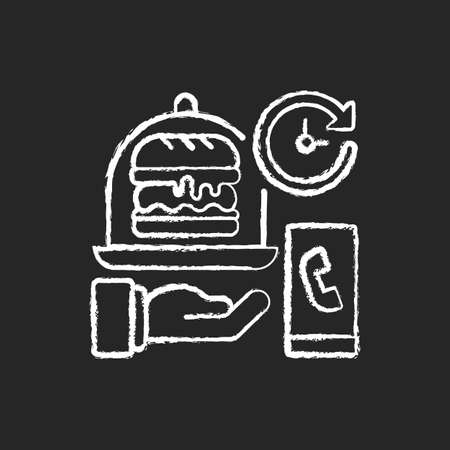 Delivery time chalk white icon on black background. Delivery hours. Courier service. Ordering breakfast, lunch, dinner. Real-time order tracking. Isolated vector chalkboard illustration