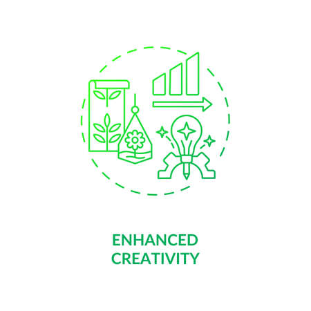 Enhanced creativity green concept icon. Workspace for productive work. Motivation for job performance, Biophilia idea thin line illustration. Vector isolated outline RGB color drawing