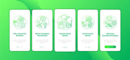 Sustainable architecture green onboarding mobile app page screen with concepts. Green smart house walkthrough 5 steps graphic instructions. UI vector template with RGB color illustrations