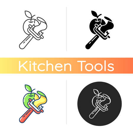 Vegetable peeler icon. Stainless instrument for serving food. Cooking utensil. Peel apple skin. Kitchen tool. Sharp knife. Linear black and RGB color styles. Isolated vector illustrations