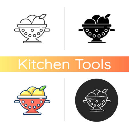 Colander icon. Strainer to rinse fruits. Wash fruits in pot with holes. Kitchen tool for cooking. Utensil for preparing food. Linear black and RGB color styles. Isolated vector illustrations