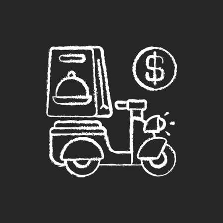 Delivery fee chalk white icon on black background. Courier service. Online ordering. Collecting money from consumers. Cashless payment. Paying online. Isolated vector chalkboard illustration 矢量图像