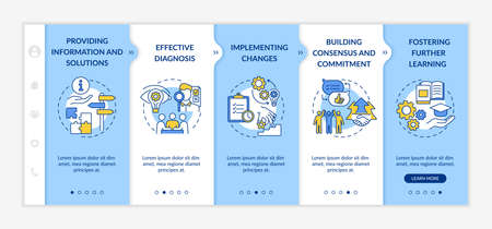 Business counseling stages onboarding vector template. Providing information. Implementing changes. Responsive mobile website with icons. Webpage walkthrough step screens. RGB color concept
